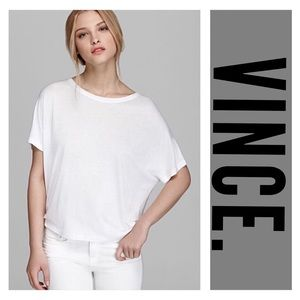 Vince. Dolman Sleeve Draped Soft White Tee Small